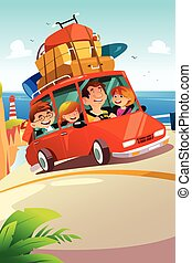 Family Traveling on a Road Trip - A vector illustration of...