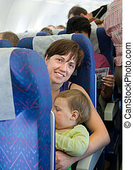 Family traveling on commercial airliner