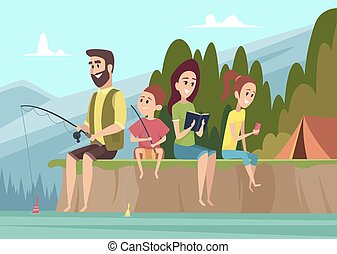 Family travellers. Couple outdoor explorers kids with parents hiking camping vector cartoon background