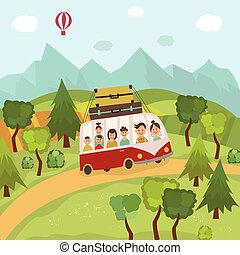 Family travelling by bus in countryside, fields