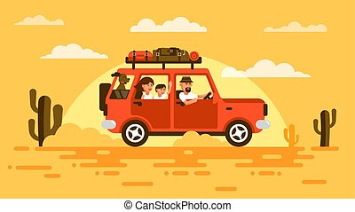 Family travels by car with a dog.