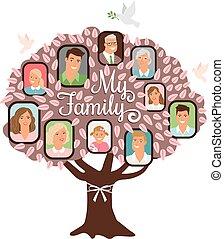 Family tree cartoon doodle icon