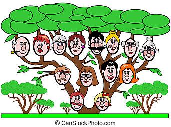 Family tree - Cartoon illustration of a family tree with...