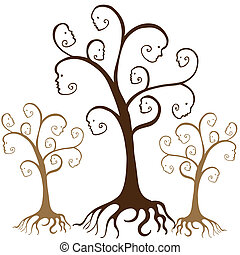 Family Tree Faces - Family tree faces isolated on a white...