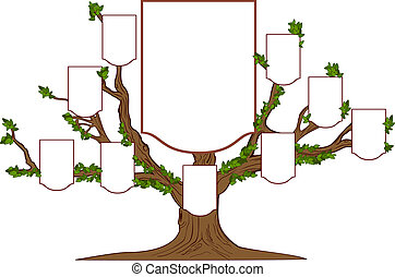 Family tree - Family branchy tree with empty emblems