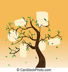 Family tree hang tag - Family concept tree with hanging...