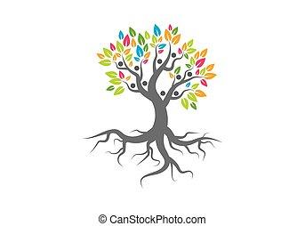 Tree person logo vector icon representing friendship, embracing, hug ...