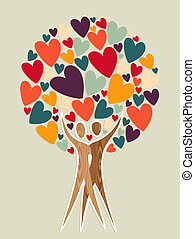Diversity tree of love background. Vector illustration layered for easy manipulation and custom coloring.