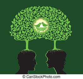 Family tree - Vector illustration of two people dreaming...