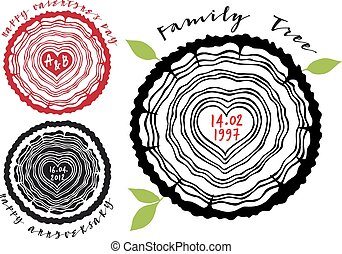 Family tree with heart rings