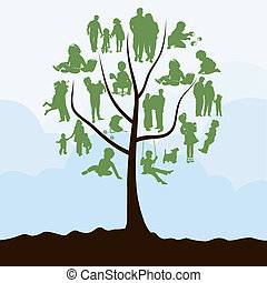 Family tree with leaves in the form of people. A vector illustration