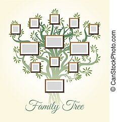 Family tree with photo frames vector illustration. Parents and children pictures, dynasty of generations