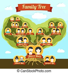 Family tree with places for your pictures and names. Vector