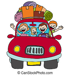 Family Trip - An image of a family driving in their car with...