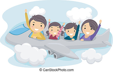 Illustration of a Family on a Trip