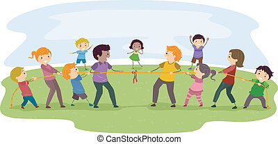 Family Tug-of-War - Illustration Featuring Two Families...