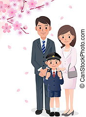 Family under cherry blossom trees - Boy'sparents attending...