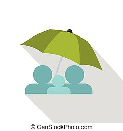 Family under green umbrella icon, flat style