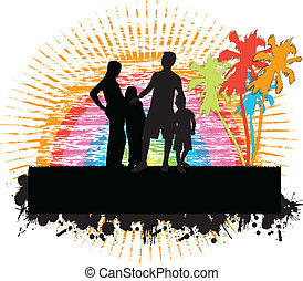 family under the palm-grunge background