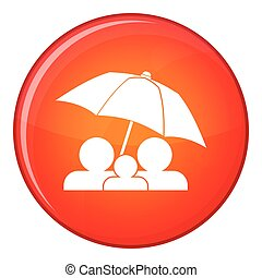 Family under umbrella icon, flat style