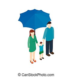 Family under umbrella icon, isometric 3d style