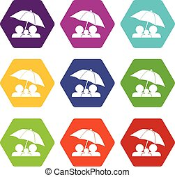 Family under umbrella icon set color hexahedron