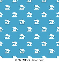 Family under umbrella pattern seamless blue
