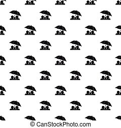 Family under umbrella pattern, simple style