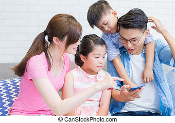 family use phone happily