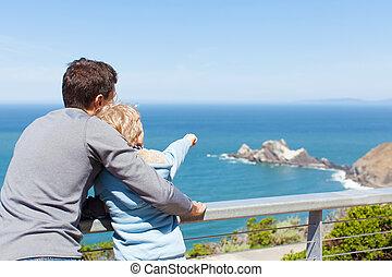 family using binoculars