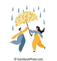 Family using insurance and emergency fund illustration