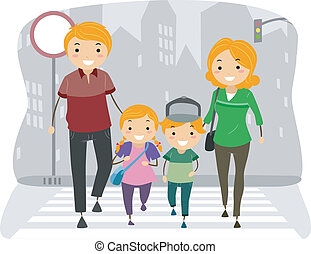 Family Using the Pedestrian Lane - Illustration of a Family...