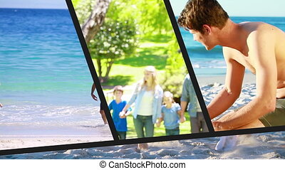 Family vacation montage at the beach and the park