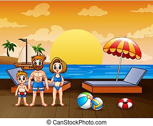 family vacation on the beach illustration