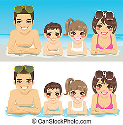 Family Vacation Together - Happy family lying down on sea...