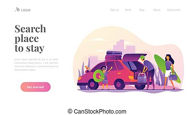 Family vacation vector landing page template.