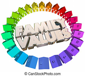 Family Values Religious Beliefs Homes Houses Words 3d Illustration