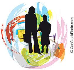 family., vecteur, illustration
