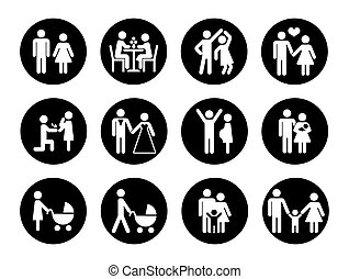 Family vector icons set in black and white