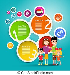 Family Vector Infographic Concept. Colorful Paper Infographics.