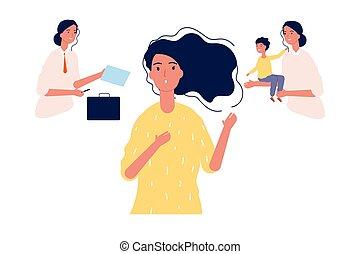 family., vetorial, estereótipos, ou, femininas, decisions., carreira, fazer, gênero, mãe, menina, escolher, choice., ilustração, executiva, trabalho, entre, maternidade, difícil