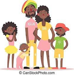 family., vettore, illustrazione, africano