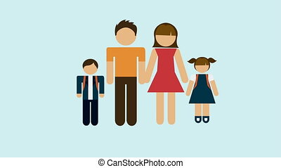 Family, Video animation - Design of family on hearth shape,...