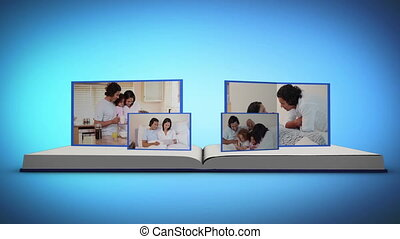Family videos on a book against a b