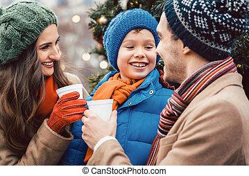Family visiting Christmas Market
