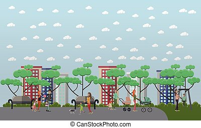 Family walk in the park concept vector illustration, flat style.
