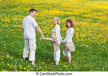 family walking hand in hand - family walking on grassy field...
