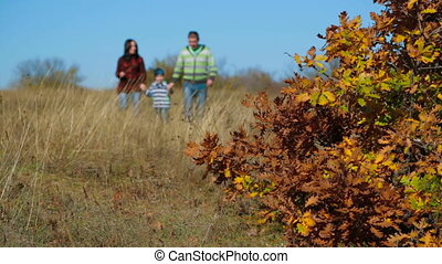 Family Walking In Autumn Meadow