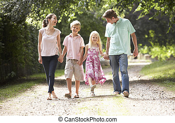 Family Walking In Countryside Together