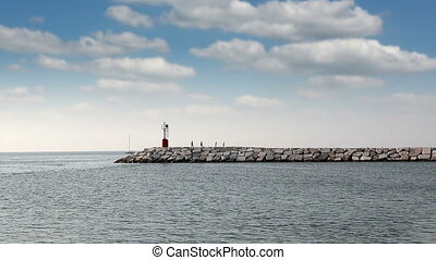 family walking near sea